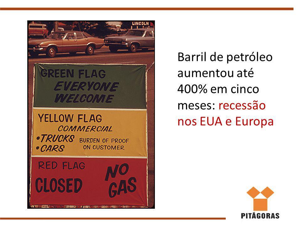 Barril de petróleo aumentou até 400% em cinco meses: recessão nos EUA e Europa