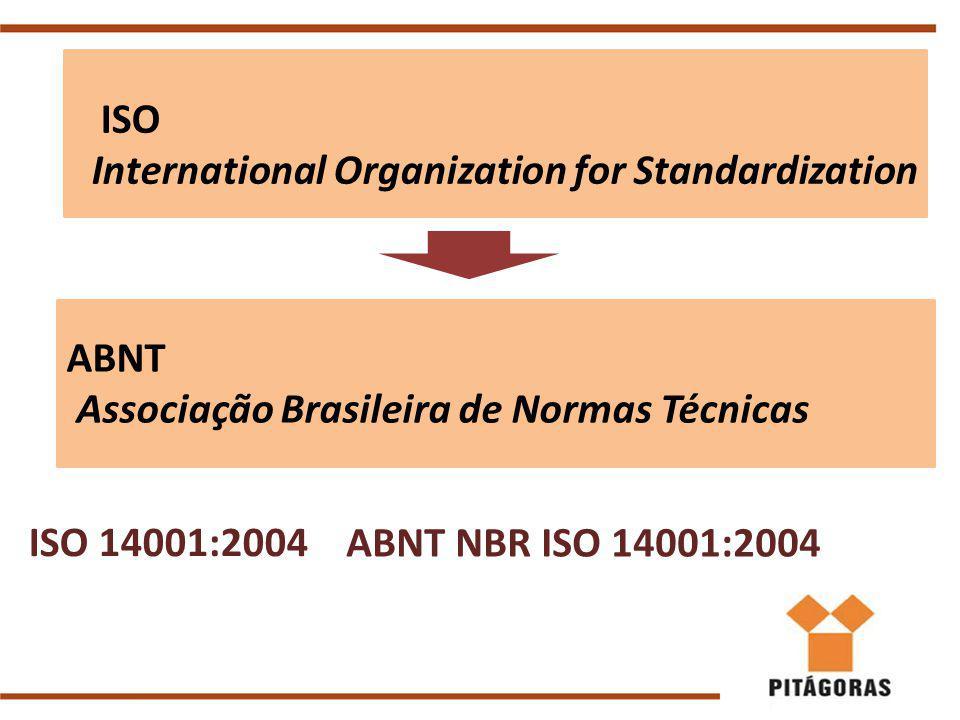 ABNT Associação Brasileira de Normas Técnicas ISO International Organization for Standardization ABNT NBR ISO 14001:2004 ISO 14001:2004