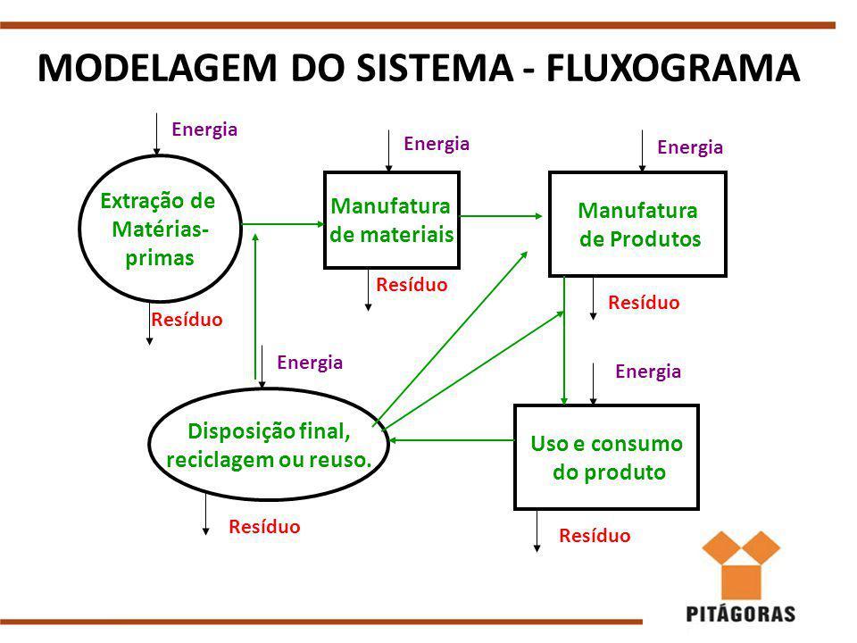 MODELAGEM DO SISTEMA - FLUXOGRAMA Extração de Matérias- primas Manufatura de materiais Manufatura de Produtos Uso e consumo do produto Disposição final, reciclagem ou reuso.
