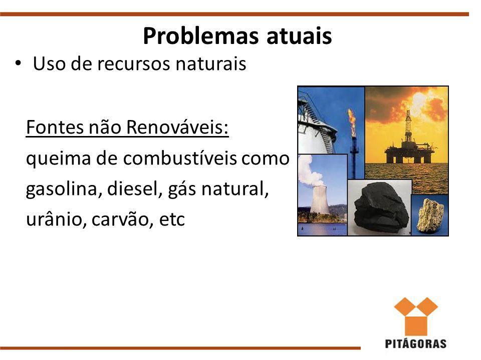 Uso de recursos naturais Problemas atuais Fontes não Renováveis: queima de combustíveis como gasolina, diesel, gás natural, urânio, carvão, etc