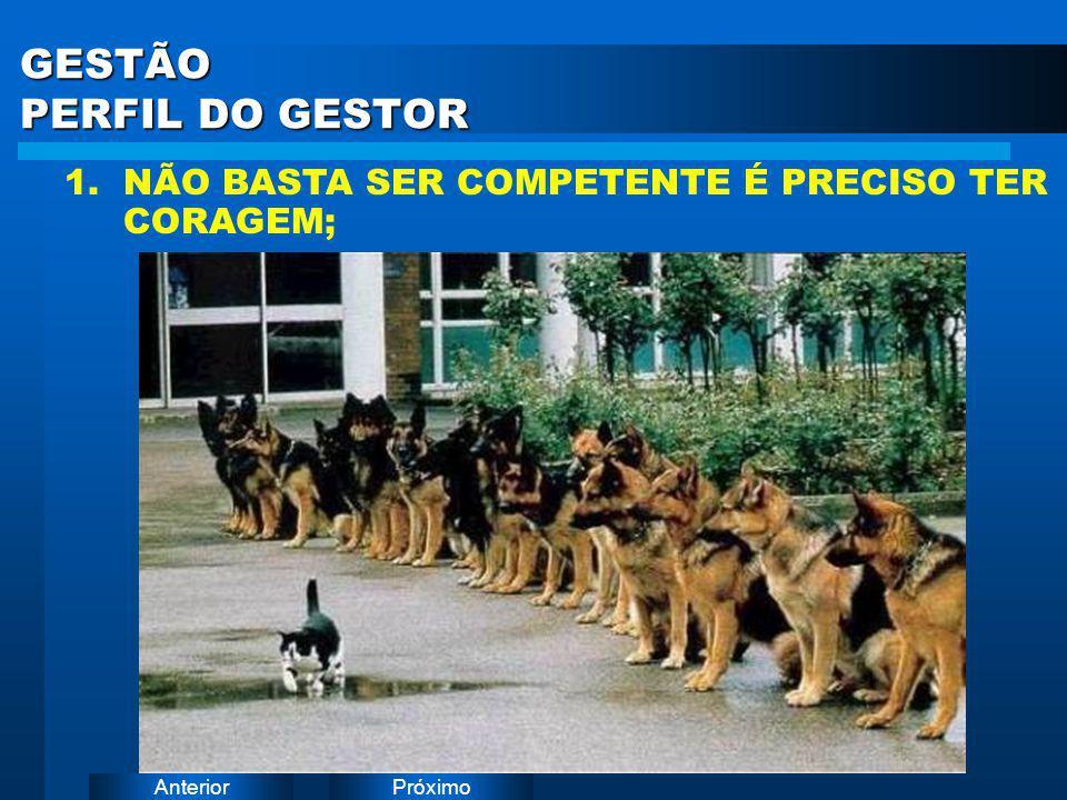 PróximoAnterior GESTÃO PERFIL DO GESTOR 1. NÃO BASTA SER COMPETENTE É PRECISO TER CORAGEM;