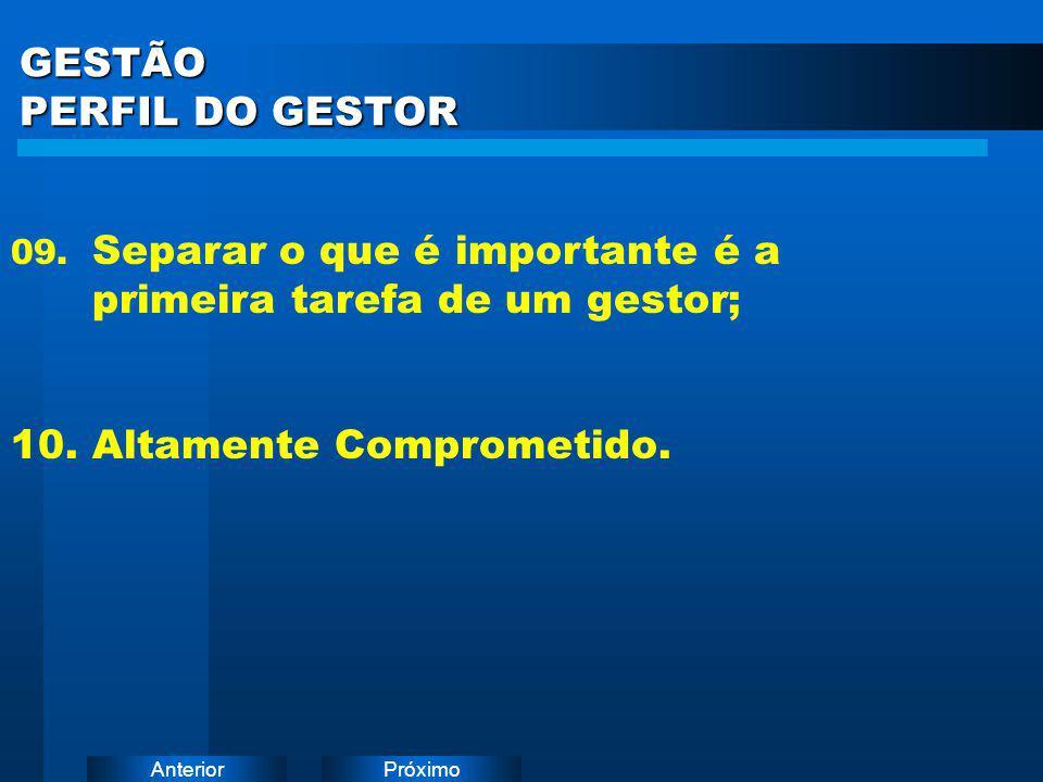 PróximoAnterior GESTÃO PERFIL DO GESTOR 09. Separar o que é importante é a primeira tarefa de um gestor; 10. Altamente Comprometido.