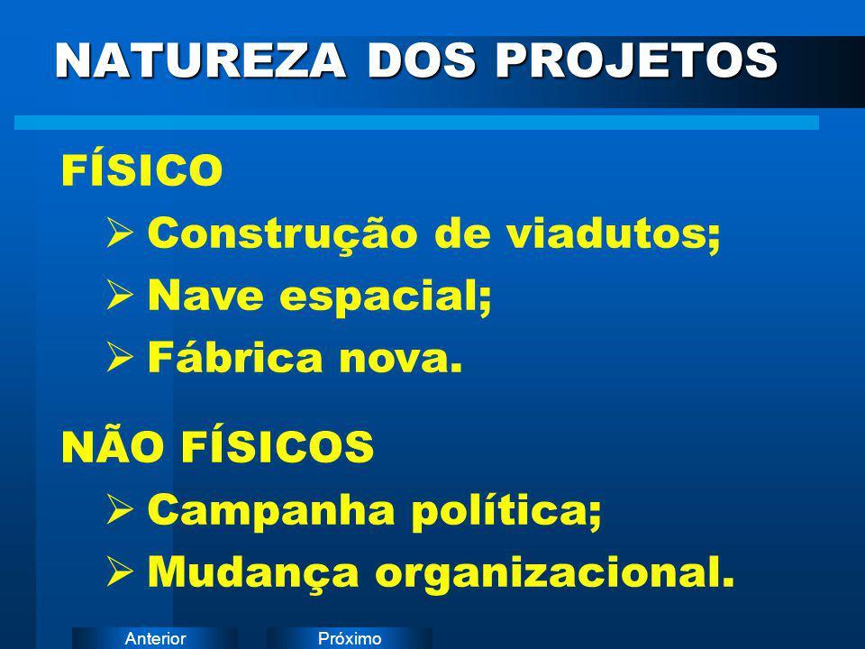 PróximoAnterior NATUREZA DOS PROJETOS FÍSICO  Construção de viadutos;  Nave espacial;  Fábrica nova. NÃO FÍSICOS  Campanha política;  Mudança org