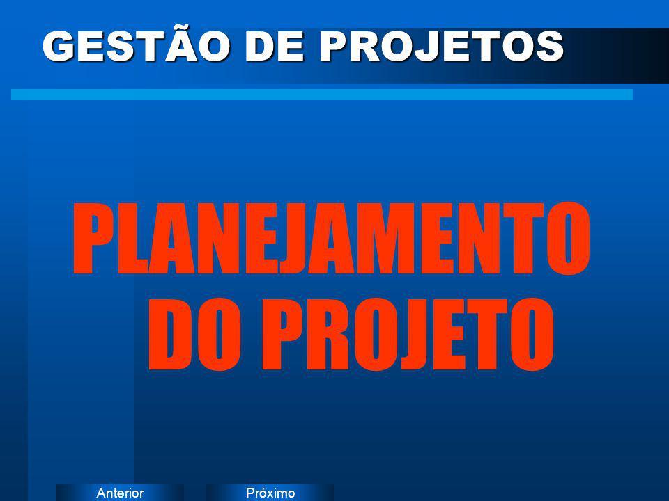 PróximoAnterior GESTÃO DE PROJETOS PLANEJAMENTO DO PROJETO