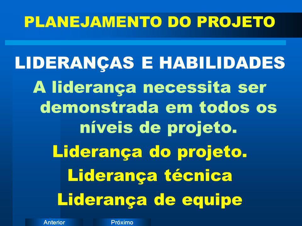 PróximoAnterior LIDERANÇAS E HABILIDADES A liderança necessita ser demonstrada em todos os níveis de projeto. Liderança do projeto. Liderança técnica