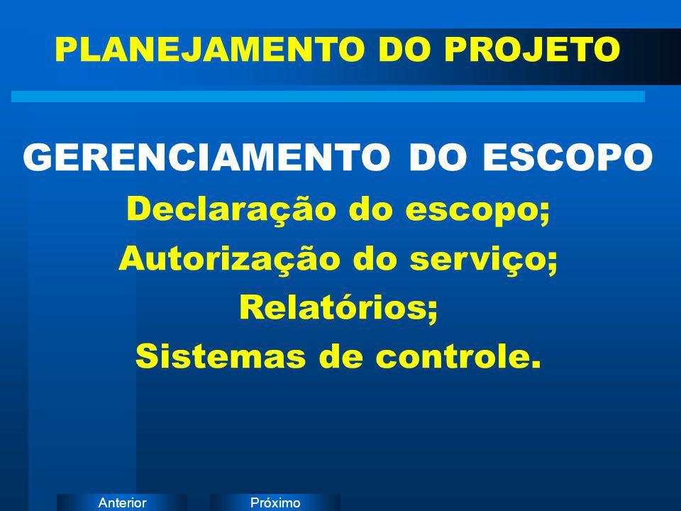 PróximoAnterior GERENCIAMENTO DO ESCOPO Declaração do escopo; Autorização do serviço; Relatórios; Sistemas de controle. PLANEJAMENTO DO PROJETO
