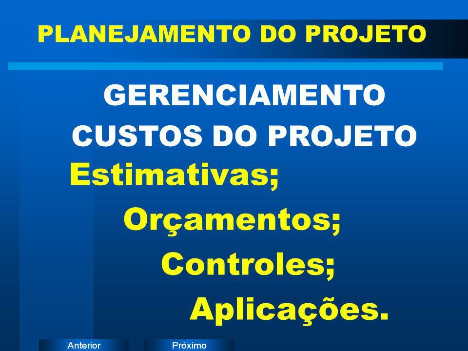 PróximoAnterior Estimativas; Orçamentos; Controles; Aplicações. GERENCIAMENTO CUSTOS DO PROJETO PLANEJAMENTO DO PROJETO