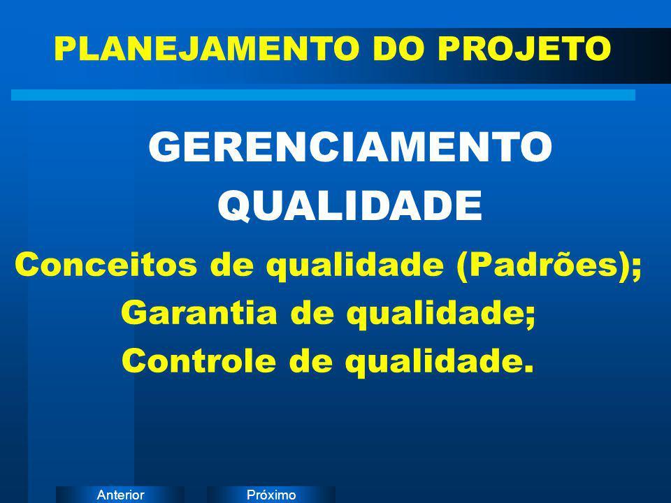 PróximoAnterior Conceitos de qualidade (Padrões); Garantia de qualidade; Controle de qualidade. GERENCIAMENTO QUALIDADE PLANEJAMENTO DO PROJETO