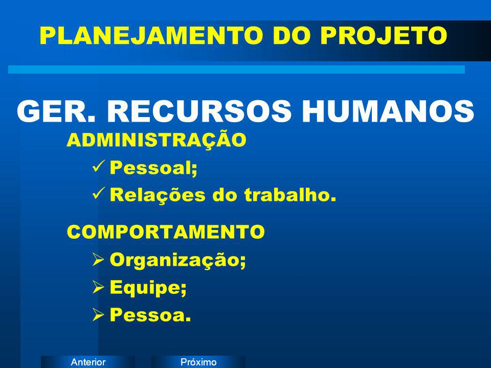 PróximoAnterior ADMINISTRAÇÃO Pessoal; Relações do trabalho. COMPORTAMENTO  Organização;  Equipe;  Pessoa. GER. RECURSOS HUMANOS PLANEJAMENTO DO PR