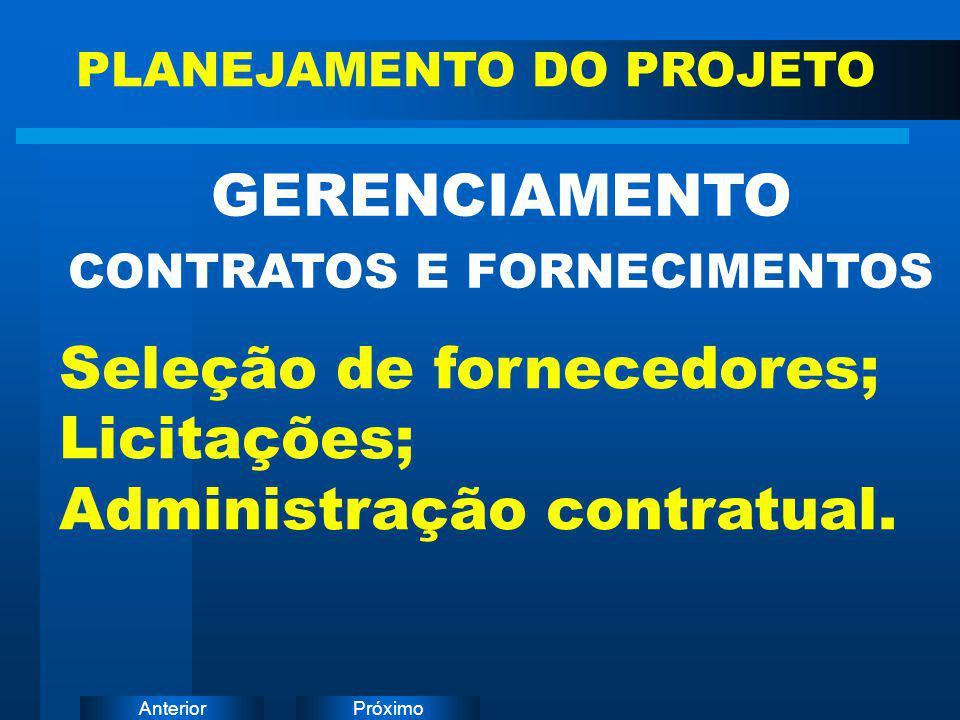 PróximoAnterior GERENCIAMENTO CONTRATOS E FORNECIMENTOS PLANEJAMENTO DO PROJETO Seleção de fornecedores; Licitações; Administração contratual.
