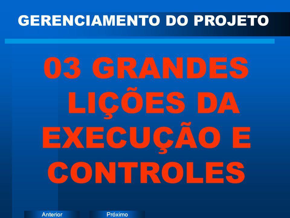 PróximoAnterior GERENCIAMENTO DO PROJETO 03 GRANDES LIÇÕES DA EXECUÇÃO E CONTROLES