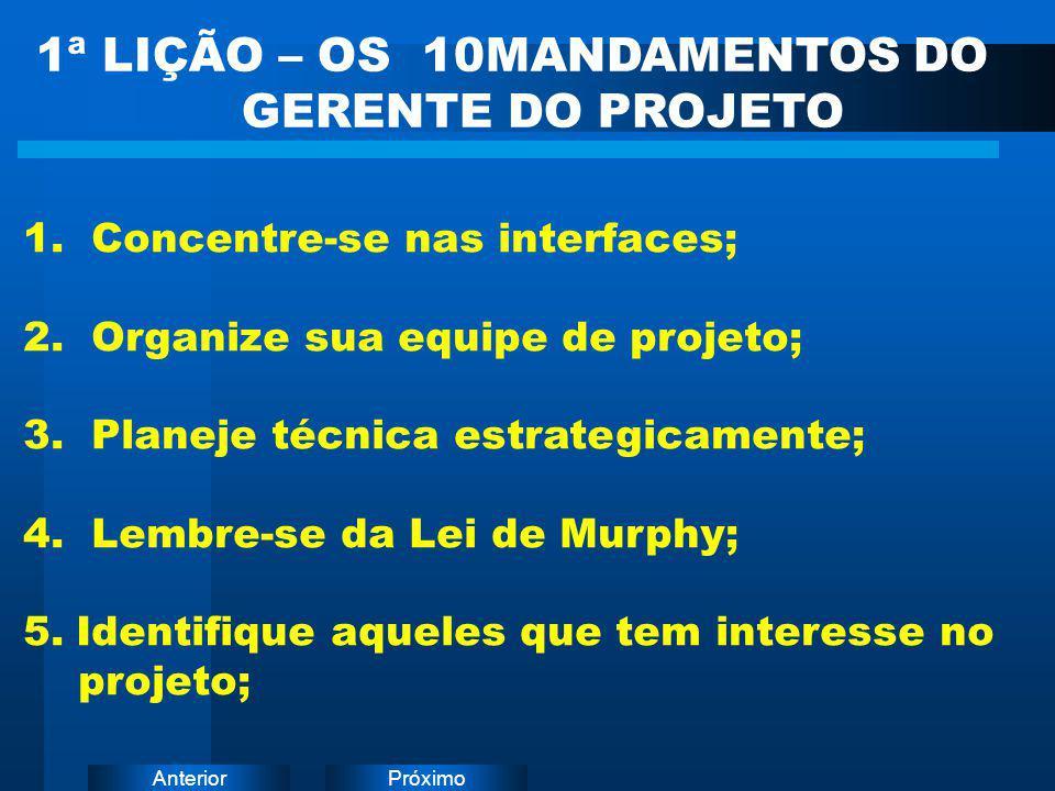 PróximoAnterior 1ª LIÇÃO – OS 10MANDAMENTOS DO GERENTE DO PROJETO 1. Concentre-se nas interfaces; 2. Organize sua equipe de projeto; 3. Planeje técnic
