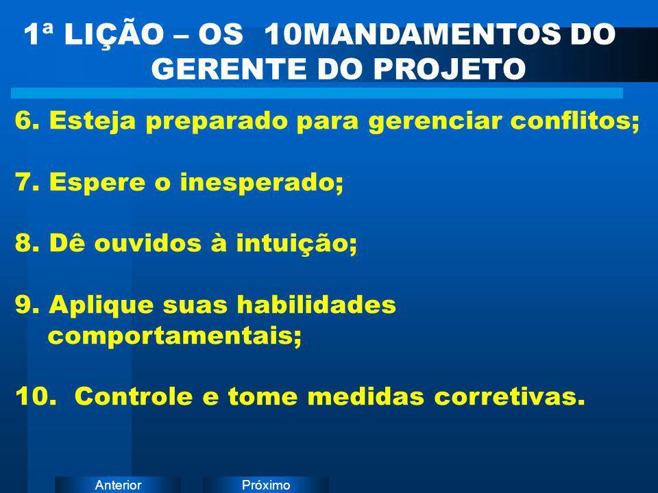 PróximoAnterior 6. Esteja preparado para gerenciar conflitos; 7. Espere o inesperado; 8. Dê ouvidos à intuição; 9. Aplique suas habilidades comportame