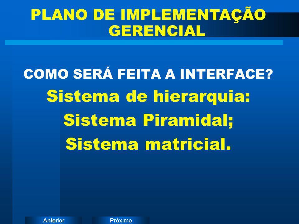 PróximoAnterior COMO SERÁ FEITA A INTERFACE? Sistema de hierarquia: Sistema Piramidal; Sistema matricial. PLANO DE IMPLEMENTAÇÃO GERENCIAL