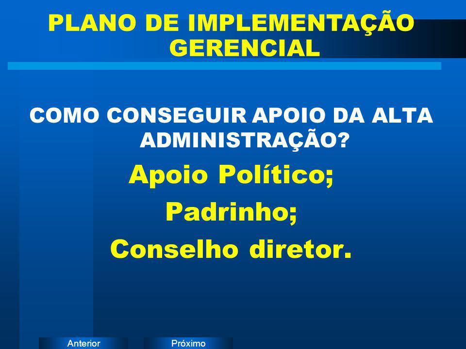 PróximoAnterior COMO CONSEGUIR APOIO DA ALTA ADMINISTRAÇÃO? Apoio Político; Padrinho; Conselho diretor. PLANO DE IMPLEMENTAÇÃO GERENCIAL