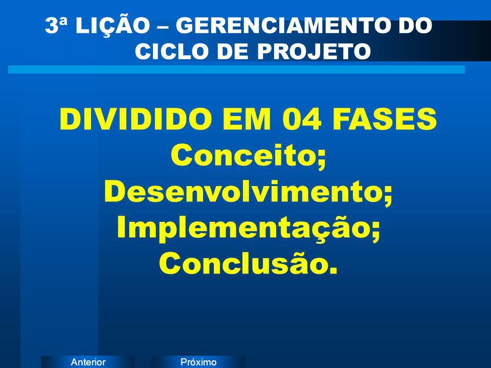 PróximoAnterior DIVIDIDO EM 04 FASES Conceito; Desenvolvimento; Implementação; Conclusão. 3ª LIÇÃO – GERENCIAMENTO DO CICLO DE PROJETO