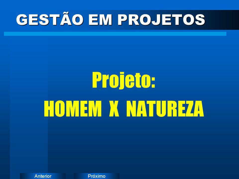 PróximoAnterior Projeto: HOMEM X NATUREZA GESTÃO EM PROJETOS