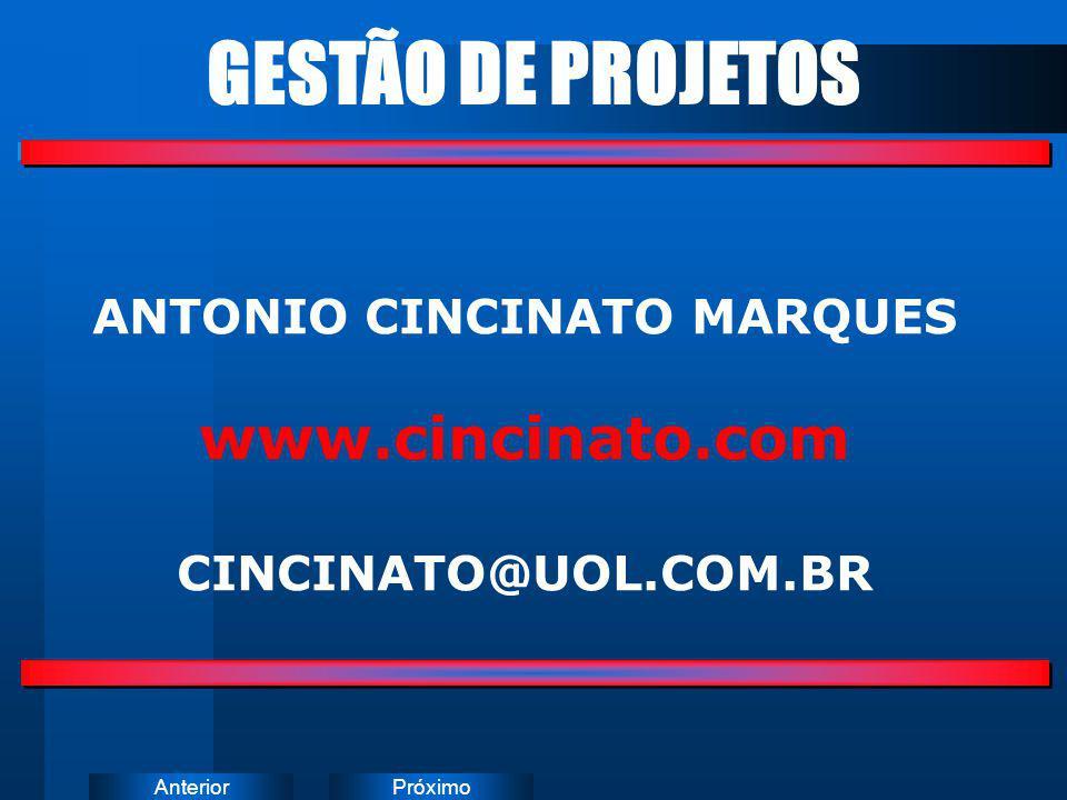 PróximoAnterior ANTONIO CINCINATO MARQUES www.cincinato.com CINCINATO@UOL.COM.BR GESTÃO DE PROJETOS