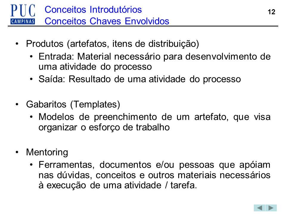 12 Conceitos Introdutórios Conceitos Chaves Envolvidos Produtos (artefatos, itens de distribuição) Entrada: Material necessário para desenvolvimento d
