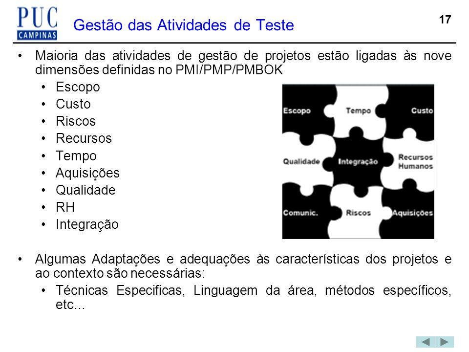 17 Gestão das Atividades de Teste Maioria das atividades de gestão de projetos estão ligadas às nove dimensões definidas no PMI/PMP/PMBOK Escopo Custo