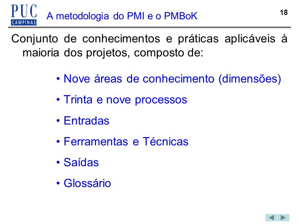 18 A metodologia do PMI e o PMBoK Conjunto de conhecimentos e práticas aplicáveis à maioria dos projetos, composto de: Nove áreas de conhecimento (dim