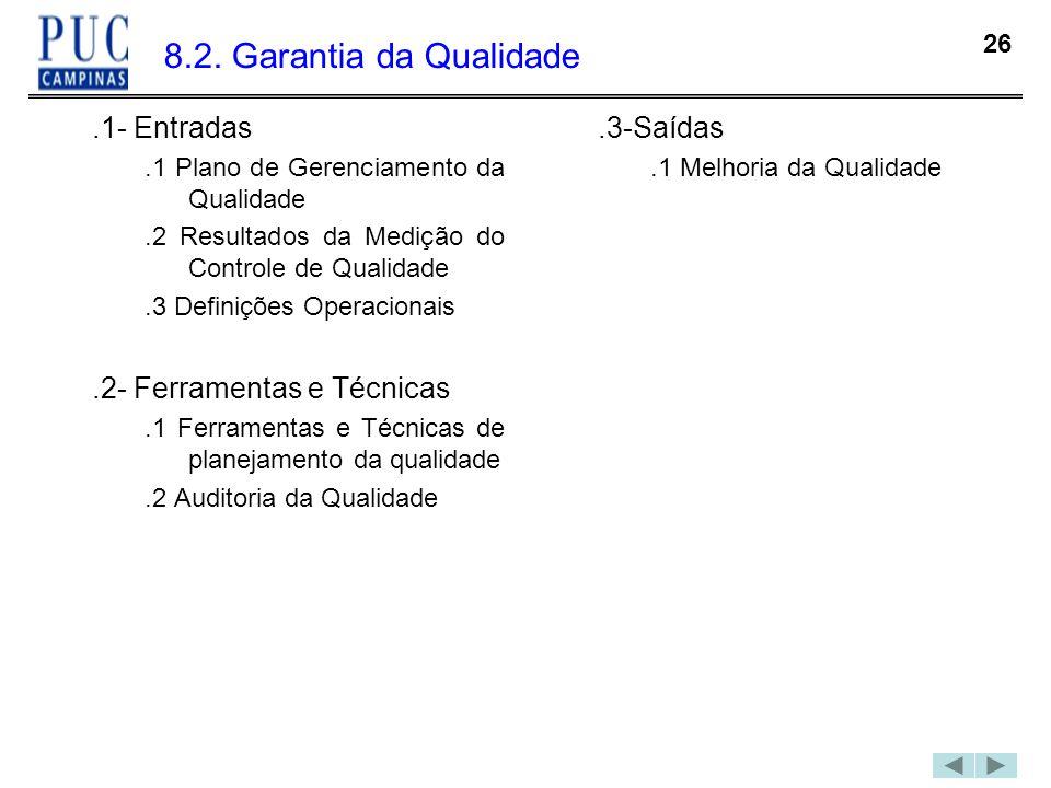 26 8.2. Garantia da Qualidade.1- Entradas.1 Plano de Gerenciamento da Qualidade.2 Resultados da Medição do Controle de Qualidade.3 Definições Operacio