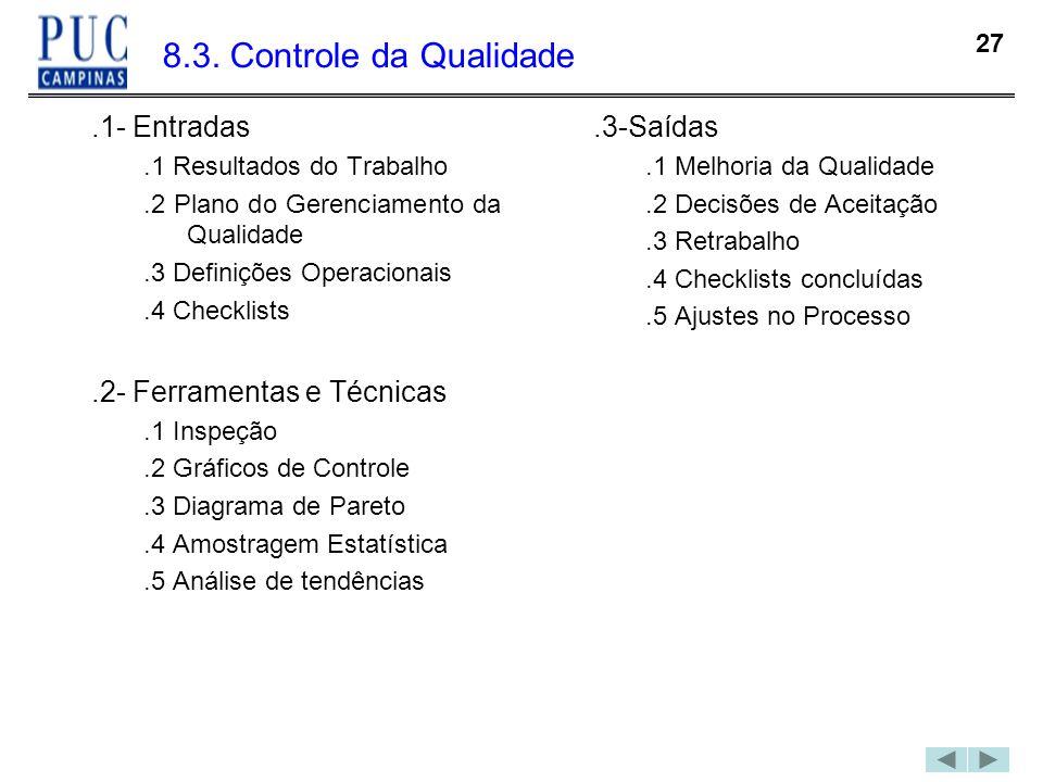 27 8.3. Controle da Qualidade.1- Entradas.1 Resultados do Trabalho.2 Plano do Gerenciamento da Qualidade.3 Definições Operacionais.4 Checklists.2- Fer