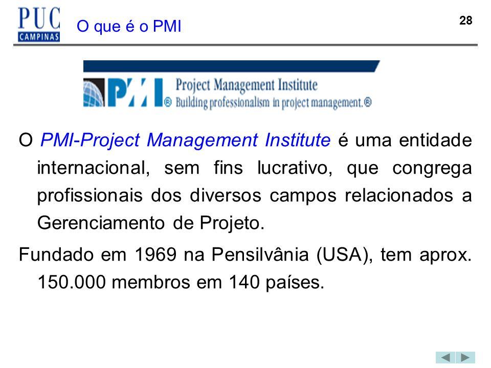 28 O que é o PMI O PMI-Project Management Institute é uma entidade internacional, sem fins lucrativo, que congrega profissionais dos diversos campos r