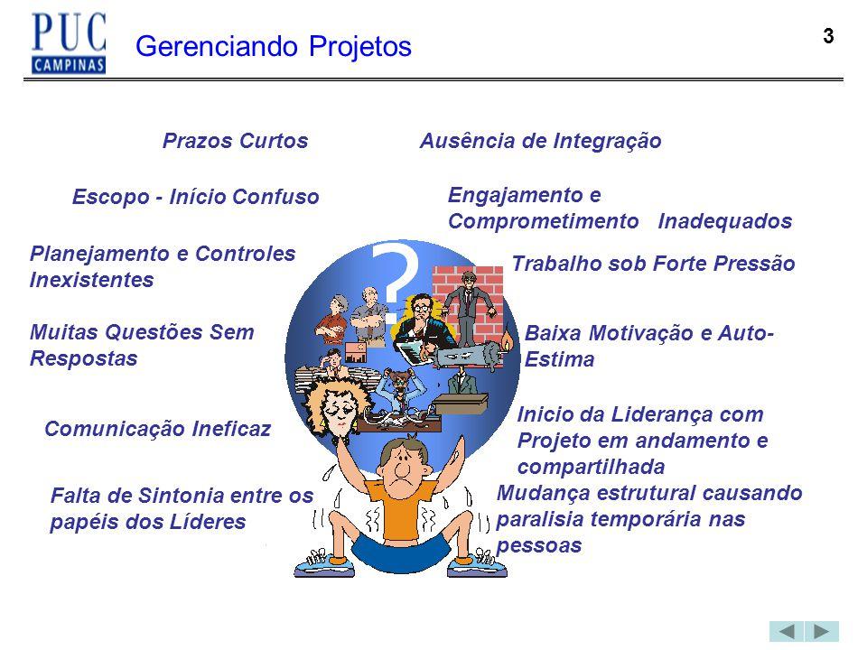 3 Gerenciando Projetos Prazos Curtos Escopo - Início Confuso Planejamento e Controles Inexistentes Muitas Questões Sem Respostas Comunicação Ineficaz