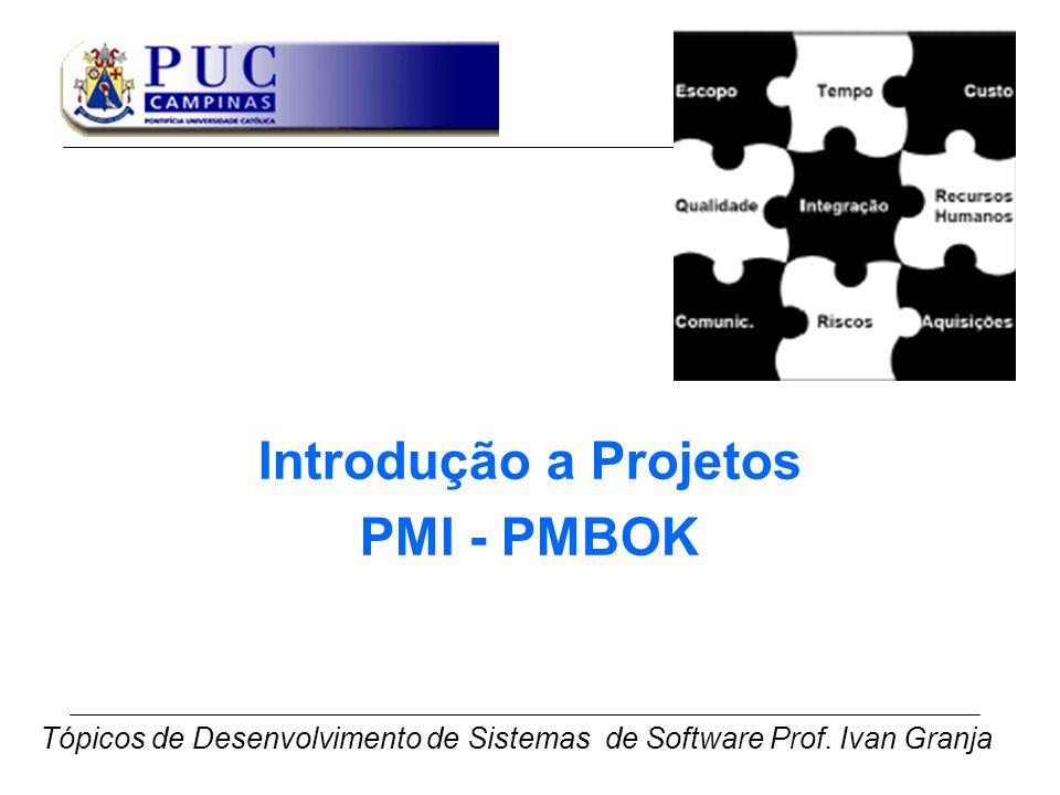Introdução a Projetos PMI - PMBOK Tópicos de Desenvolvimento de Sistemas de Software Prof. Ivan Granja