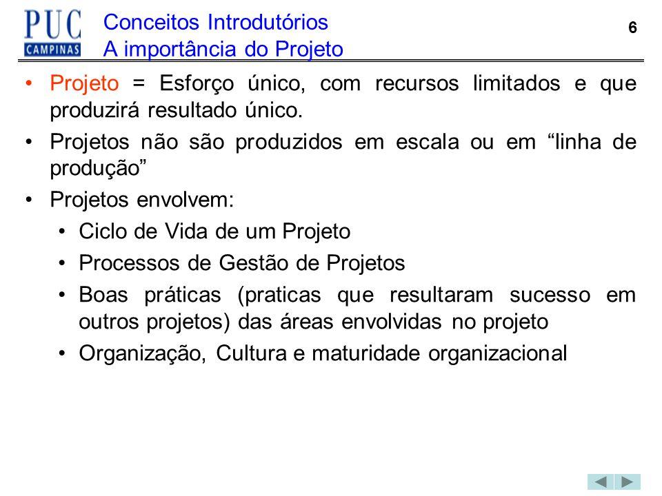 6 Conceitos Introdutórios A importância do Projeto Projeto = Esforço único, com recursos limitados e que produzirá resultado único. Projetos não são p
