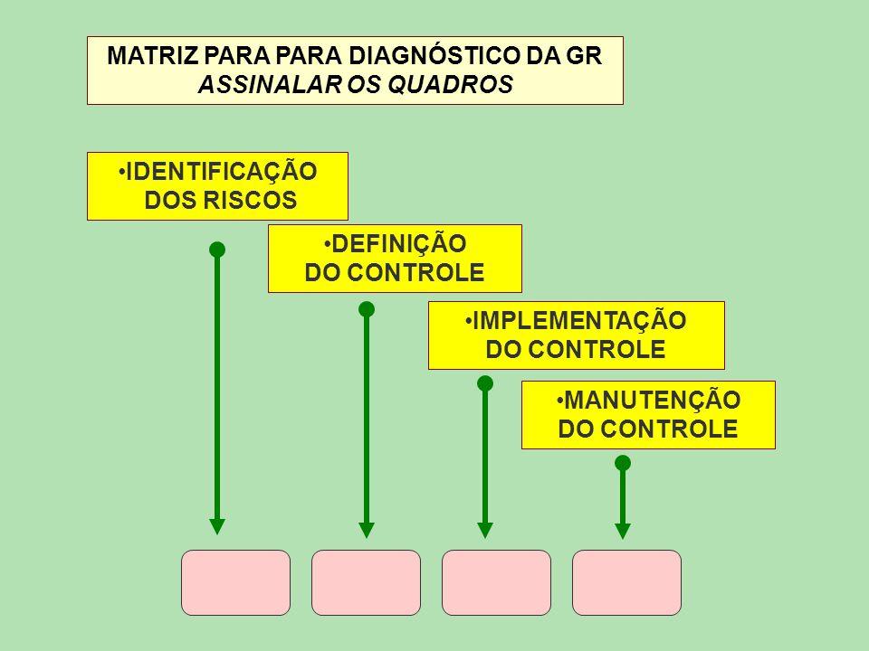 MATRIZ PARA PARA DIAGNÓSTICO DA GR ASSINALAR OS QUADROS IDENTIFICAÇÃO DOS RISCOS DEFINIÇÃO DO CONTROLE IMPLEMENTAÇÃO DO CONTROLE MANUTENÇÃO DO CONTROL