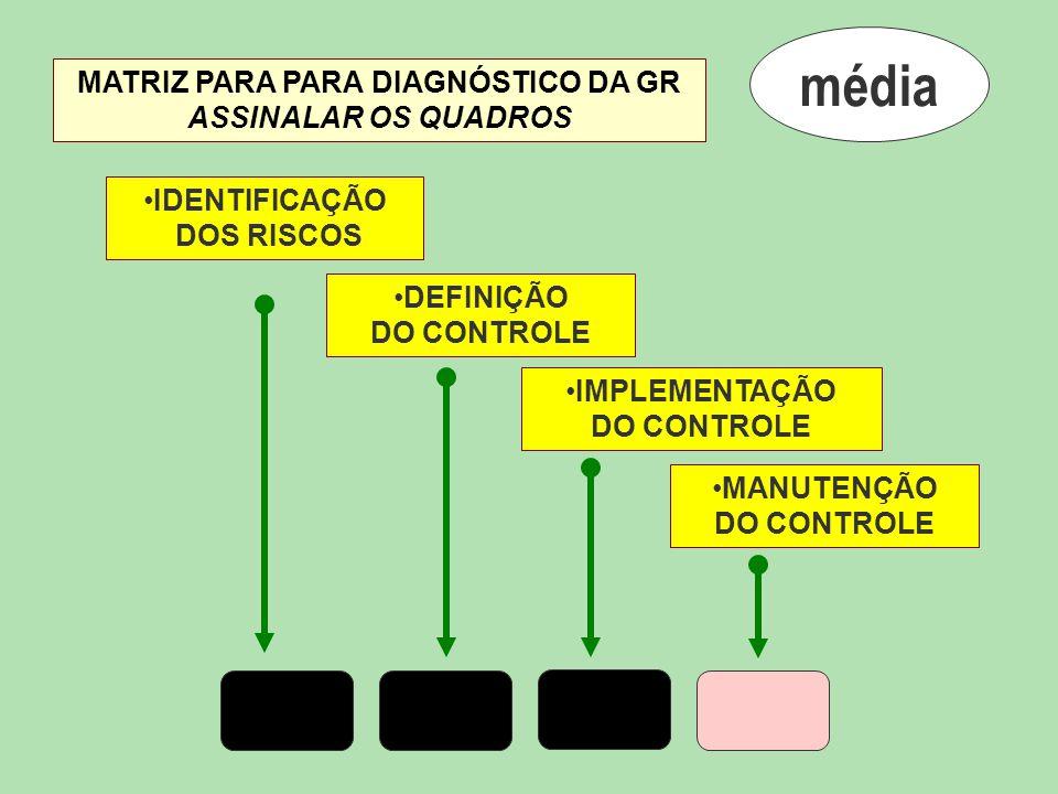 média IDENTIFICAÇÃO DOS RISCOS DEFINIÇÃO DO CONTROLE IMPLEMENTAÇÃO DO CONTROLE MANUTENÇÃO DO CONTROLE MATRIZ PARA PARA DIAGNÓSTICO DA GR ASSINALAR OS
