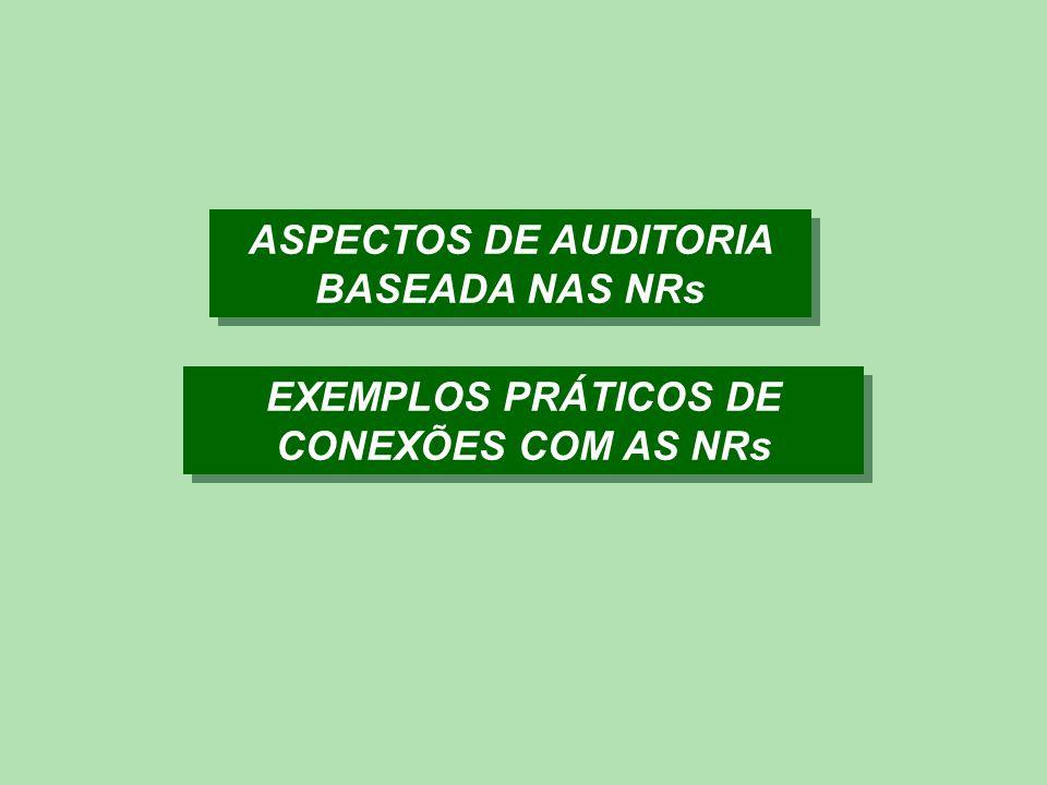 ASPECTOS DE AUDITORIA BASEADA NAS NRs EXEMPLOS PRÁTICOS DE CONEXÕES COM AS NRs