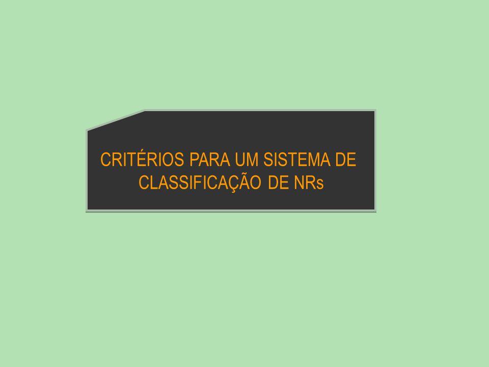 CRITÉRIOS PARA UM SISTEMA DE CLASSIFICAÇÃO DE NRs
