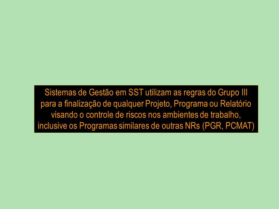 Sistemas de Gestão em SST utilizam as regras do Grupo III para a finalização de qualquer Projeto, Programa ou Relatório visando o controle de riscos nos ambientes de trabalho, inclusive os Programas similares de outras NRs (PGR, PCMAT)