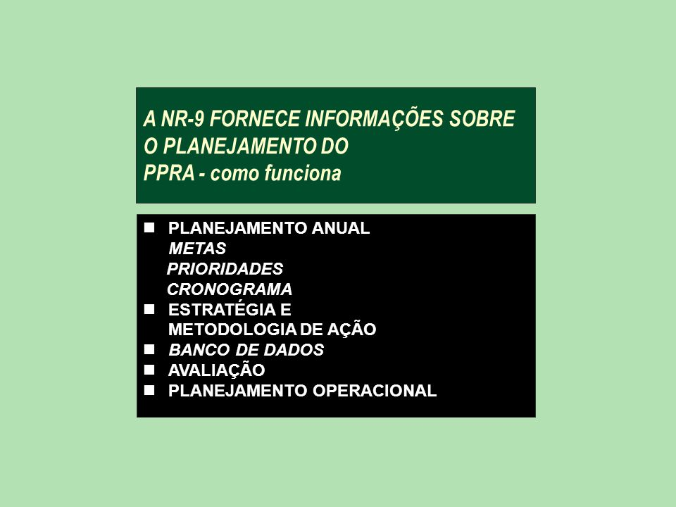 A NR-9 FORNECE INFORMAÇÕES SOBRE O PLANEJAMENTO DO PPRA - como funciona nPLANEJAMENTO ANUAL METAS PRIORIDADES CRONOGRAMA nESTRATÉGIA E METODOLOGIA DE AÇÃO nBANCO DE DADOS nAVALIAÇÃO nPLANEJAMENTO OPERACIONAL
