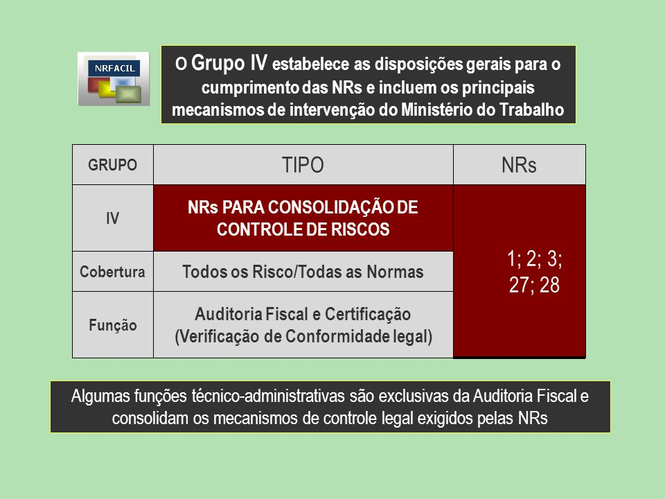 GRUPO TIPONRs IV NRs PARA CONSOLIDAÇÃO DE CONTROLE DE RISCOS 1; 2; 3; 27; 28 Cobertura Todos os Risco/Todas as Normas Função Auditoria Fiscal e Certif