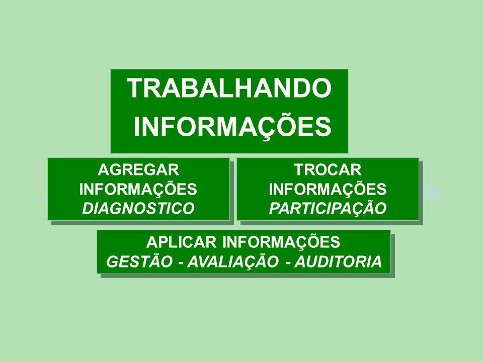 TRABALHANDO INFORMAÇÕES AGREGAR INFORMAÇÕES DIAGNOSTICO TROCAR INFORMAÇÕES PARTICIPAÇÃO APLICAR INFORMAÇÕES GESTÃO - AVALIAÇÃO - AUDITORIA APLICAR INFORMAÇÕES GESTÃO - AVALIAÇÃO - AUDITORIA