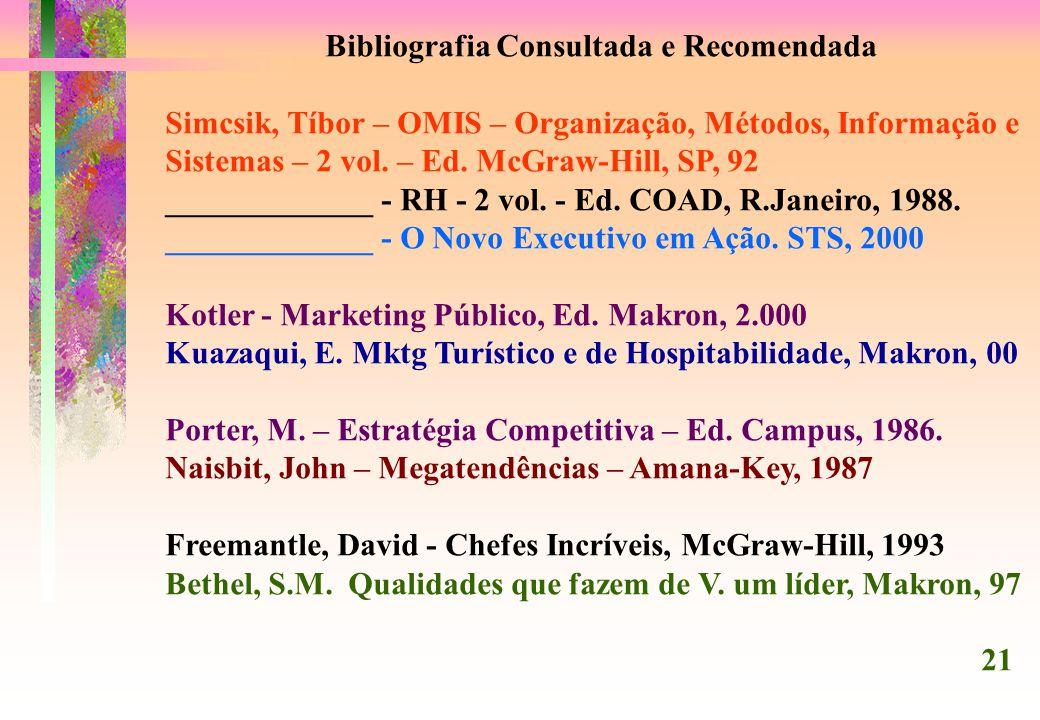 Bibliografia Consultada e Recomendada Simcsik, Tíbor – OMIS – Organização, Métodos, Informação e Sistemas – 2 vol.