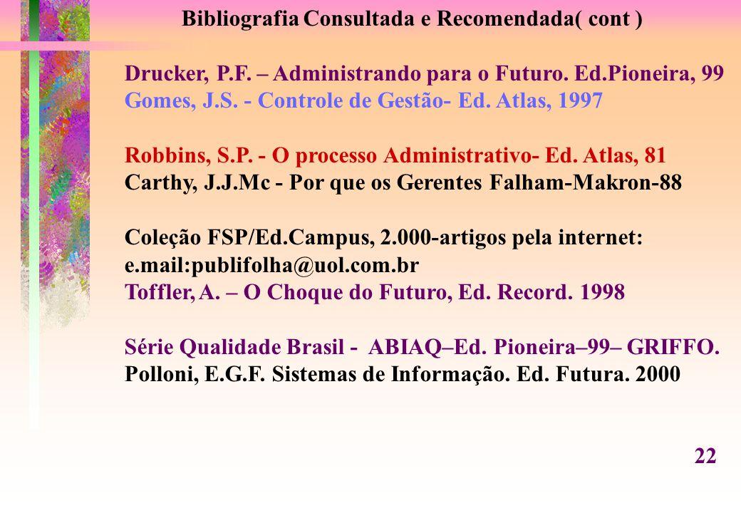 Bibliografia Consultada e Recomendada( cont ) Drucker, P.F.