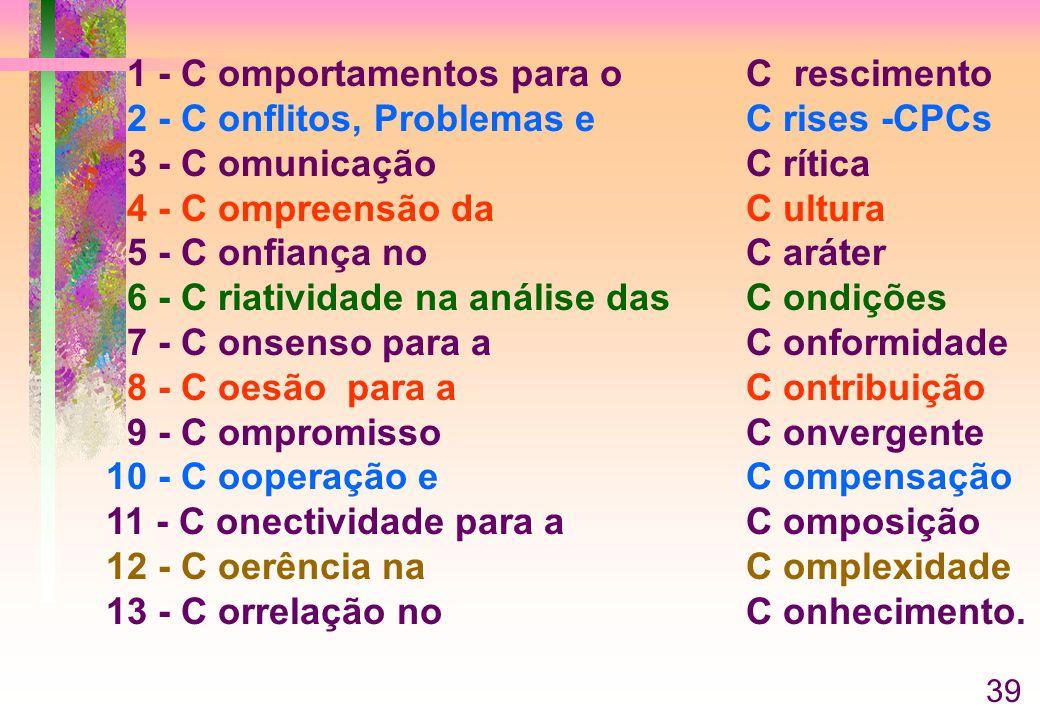 1 - C omportamentos para o C rescimento 2 - C onflitos, Problemas e C rises -CPCs 3 - C omunicação C rítica 4 - C ompreensão da C ultura 5 - C onfiança no C aráter 6 - C riatividade na análise das C ondições 7 - C onsenso para a C onformidade 8 - C oesão para a C ontribuição 9 - C ompromisso C onvergente 10 - C ooperação e C ompensação 11 - C onectividade para aC omposição 12 - C oerência naC omplexidade 13 - C orrelação noC onhecimento.