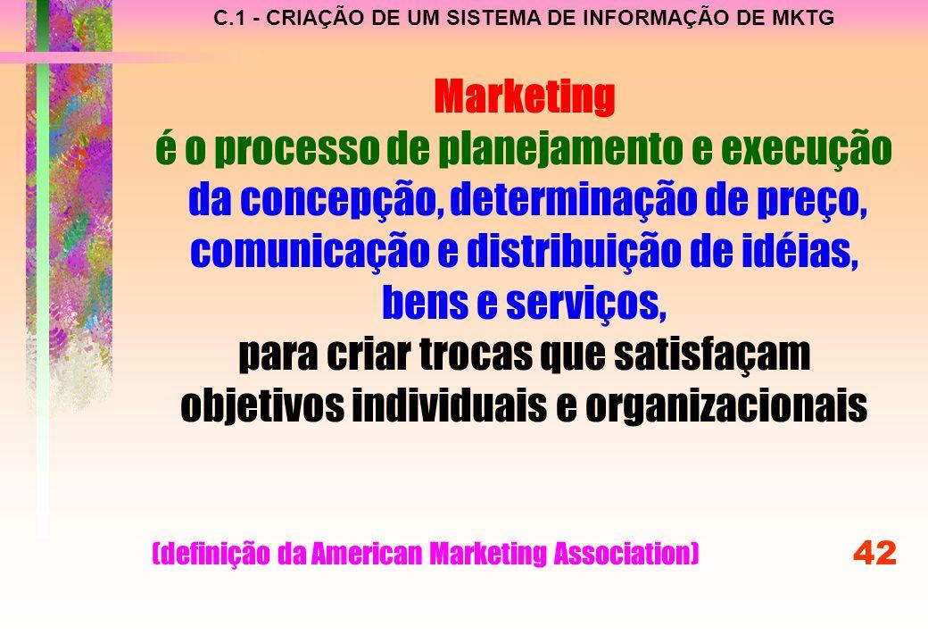 C.1 - CRIAÇÃO DE UM SISTEMA DE INFORMAÇÃO DE MKTG Marketing é o processo de planejamento e execução da concepção, determinação de preço, comunicação e distribuição de idéias, bens e serviços, para criar trocas que satisfaçam objetivos individuais e organizacionais (definição da American Marketing Association) 42