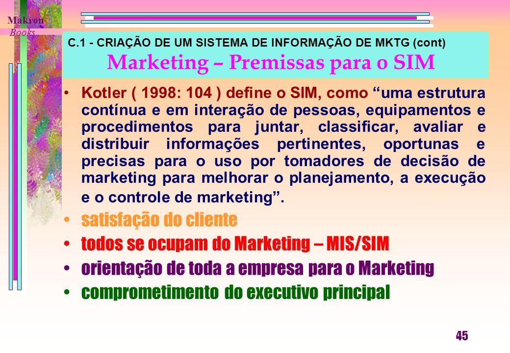 C.1 - CRIAÇÃO DE UM SISTEMA DE INFORMAÇÃO DE MKTG (cont) Marketing – Premissas para o SIM Kotler ( 1998: 104 ) define o SIM, como uma estrutura contínua e em interação de pessoas, equipamentos e procedimentos para juntar, classificar, avaliar e distribuir informações pertinentes, oportunas e precisas para o uso por tomadores de decisão de marketing para melhorar o planejamento, a execução e o controle de marketing .