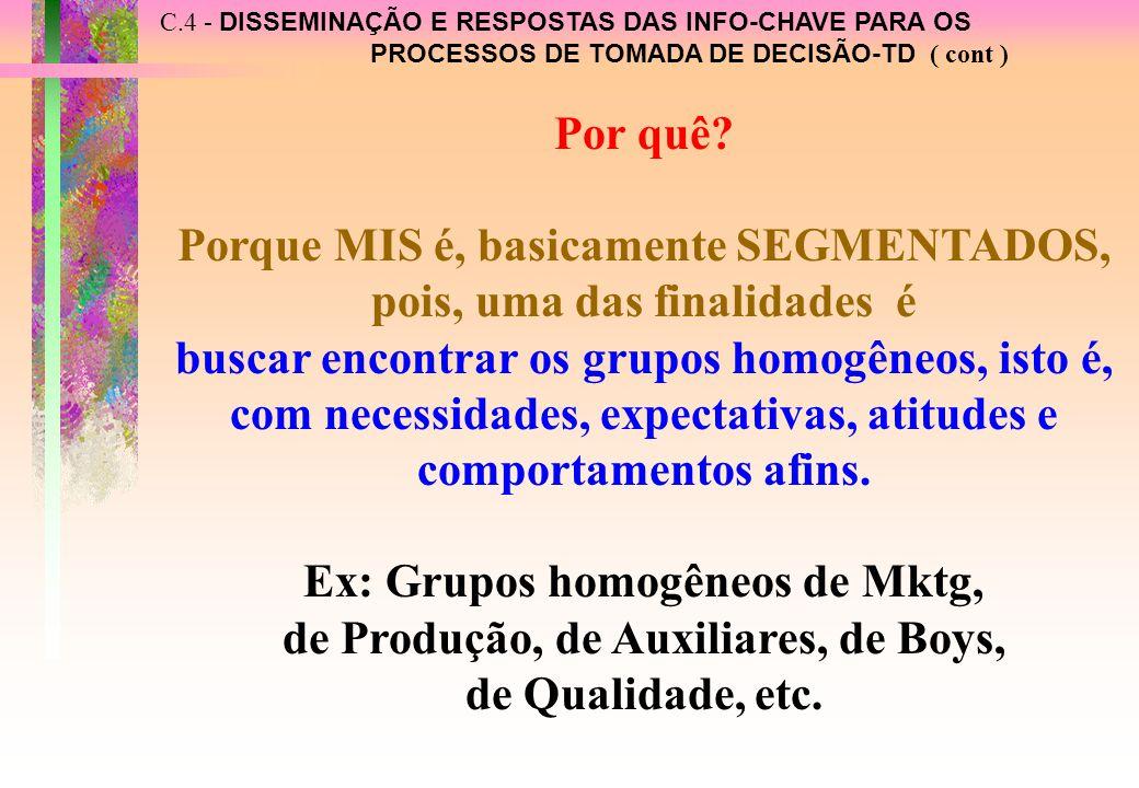 C.4 - DISSEMINAÇÃO E RESPOSTAS DAS INFO-CHAVE PARA OS PROCESSOS DE TOMADA DE DECISÃO-TD ( cont ) Por quê.