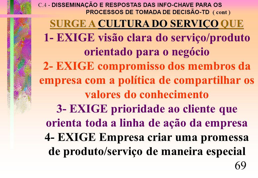 C.4 - DISSEMINAÇÃO E RESPOSTAS DAS INFO-CHAVE PARA OS PROCESSOS DE TOMADA DE DECISÃO-TD ( cont ) SURGE A CULTURA DO SERVIÇO QUE 1- EXIGE visão clara do serviço/produto orientado para o negócio 2- EXIGE compromisso dos membros da empresa com a política de compartilhar os valores do conhecimento 3- EXIGE prioridade ao cliente que orienta toda a linha de ação da empresa 4- EXIGE Empresa criar uma promessa de produto/serviço de maneira especial 69