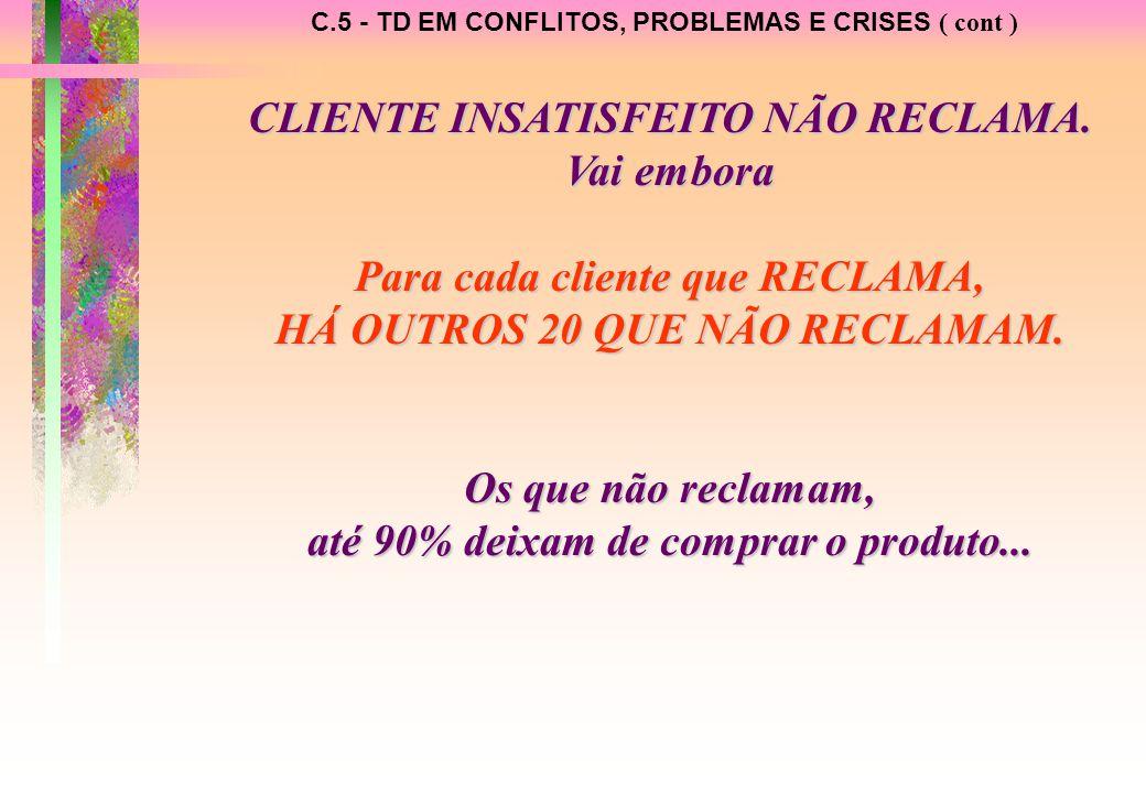 C.5 - TD EM CONFLITOS, PROBLEMAS E CRISES ( cont ) CLIENTE INSATISFEITO NÃO RECLAMA.