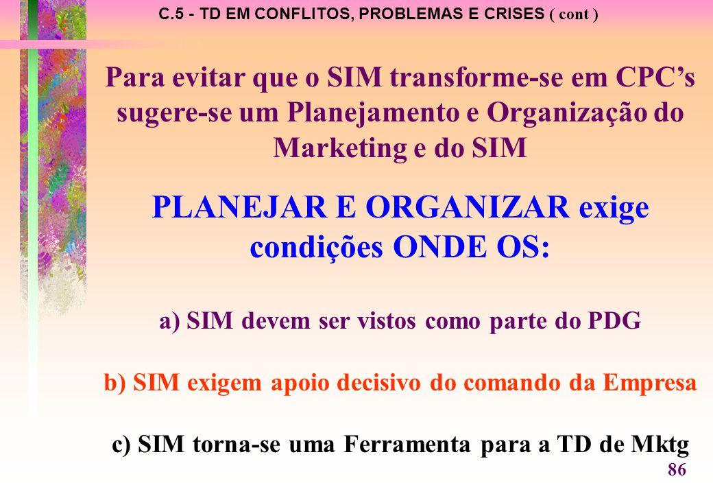 C.5 - TD EM CONFLITOS, PROBLEMAS E CRISES ( cont ) Para evitar que o SIM transforme-se em CPC's sugere-se um Planejamento e Organização do Marketing e do SIM PLANEJAR E ORGANIZAR exige condições ONDE OS: a) SIM devem ser vistos como parte do PDG b) SIM exigem apoio decisivo do comando da Empresa c) SIM torna-se uma Ferramenta para a TD de Mktg 86