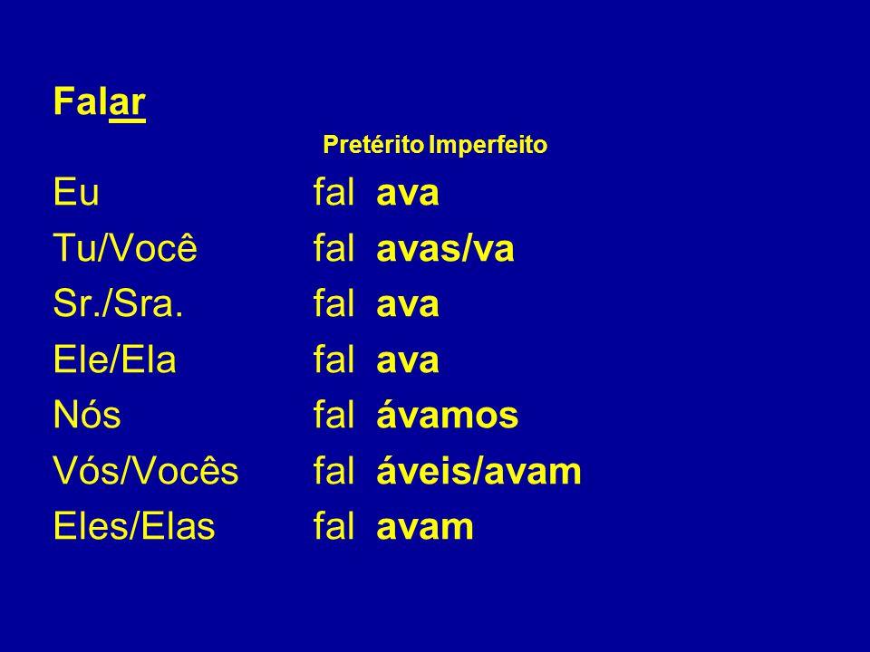 Unregelmäßige (irregulares): entweder ändert sich der Stamm des Verbs oder sind die Flexionen (Endungen) unregelmäßig.