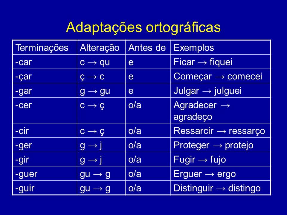 Adaptações ortográficas TerminaçõesAlteraçãoAntes deExemplos -carc → queFicar → fiquei -çarç → ceComeçar → comecei -garg → gueJulgar → julguei -cerc → ço/aAgradecer → agradeço -circ → ço/aRessarcir → ressarço -gerg → jo/aProteger → protejo -girg → jo/aFugir → fujo -guergu → go/aErguer → ergo -guirgu → go/aDistinguir → distingo